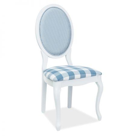 Scaun din lemn tapitat cu stofa Aleksa Alb / Albastru