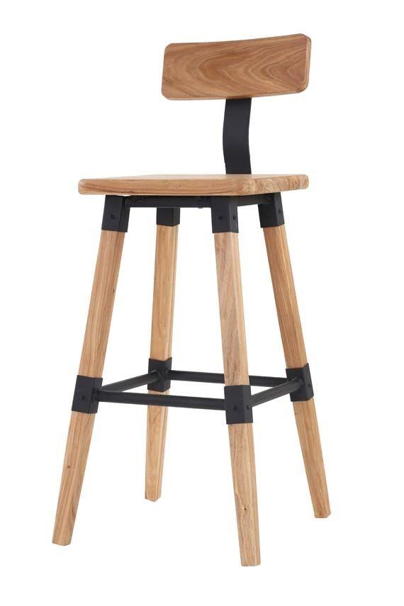 Set 2 scaune de bar din lemn de ulm si metal Hunter Natural l43xA45xH100 cm